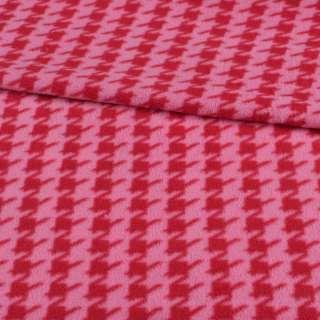 Флис розовый в красную гусиную лапку ш.190 оптом