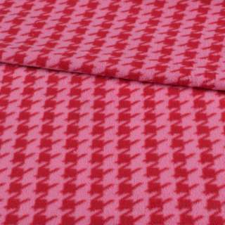 Фліс рожевий в червону гусячу лапку ш.190 оптом