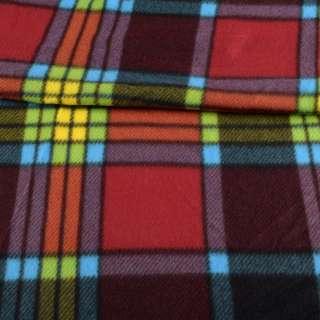 Фліс в червону, помаранчеву, жовту, салатовий, блакитну клітку, ш.155 оптом