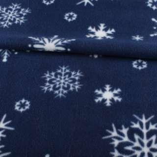 Фліс синій в білі сніжинки, ш.165 оптом