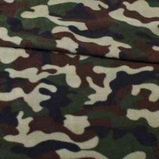 Фліс зелено-чорно-коричневий камуфляж ш.160 оптом
