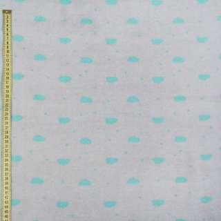 Флис серый светлый в бирюзовые овалы, ш.168 оптом