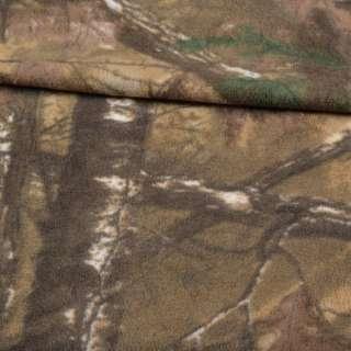 Флис камуфляжный песочно-зеленый с листьями ш.165 оптом