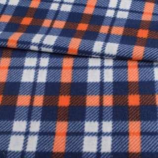 Фліс синій в білу, помаранчеву клітку, ш.160 оптом