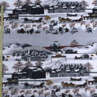Флис серый зимний город, ш.160 оптом