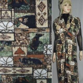 Флис бежево-коричневый квадраты с медведями ш.170 оптом