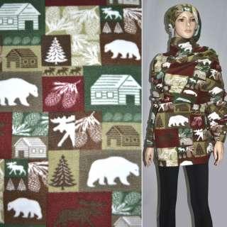 Флис в коричнево-зелено-бордовые квадраты с белыми медведями и шишками ш.160 оптом