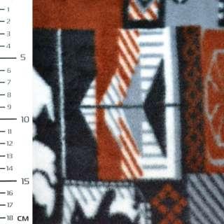 Флис серый в коричнево белые квадраты с оленями и пингвинами ш.160 оптом