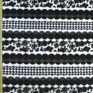 Флис белый в черно-серые круги, ш.170 оптом