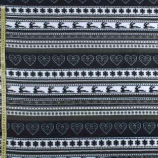 Флис в черно-серые полоски с оленями и снежинками ш.170 оптом