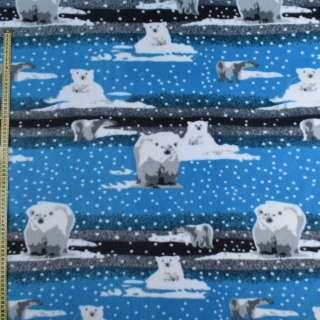 Флис серо-голубой, белый медвежонок ш.165 оптом