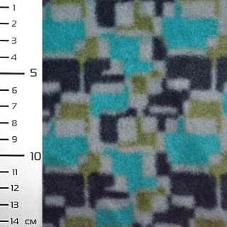 Флис бирюзовый в серо черный геометрический принт ш.160 оптом