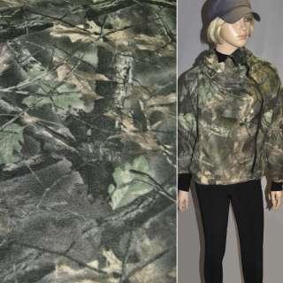 Флис болотно бежевый с листьями ш.160 оптом