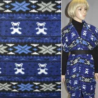 Флис в сине-черные полоски с мишками и снежинками ш.165 оптом