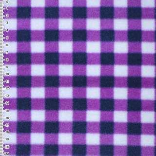 флис белый в сиренево-черные квадраты шир. 160 см. оптом
