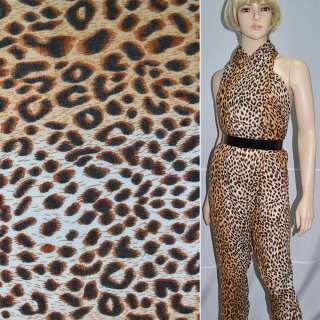 Креп полушерстяной молочно-коричневый принт леопард ш.140 оптом