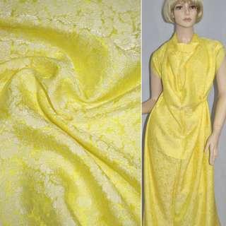 Шелк натуральный жаккардовый желтый, ш.88 оптом