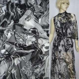 Шелк черно-белый с абстрактным рисунком, ш.140 оптом