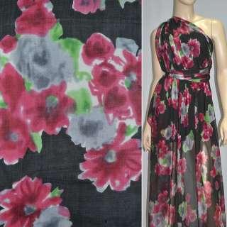 Шелк черный с красно-черными цветами, ш.140 оптом