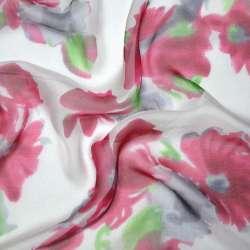 Шелк белый с красными цветами, ш.140 оптом