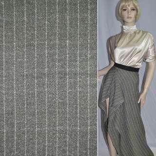 Шелк костюмный серо-оливковый в белую полоску оптом