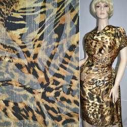 """Шелк золотисто-черный """"леопард"""" с золотым люрексом ш.140 оптом"""