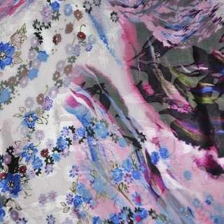 Шелк бледно-розовый в голубые цветы ш.130 оптом