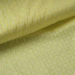 Шитье желтое светлое в круги и белые цветы с дырками ш.145 оптом