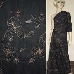 Ткань рубашечная черная с бежевой вышивкой оптом