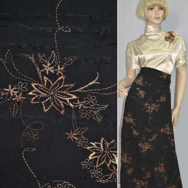 Ткань рубашечная черная с бежевой вышивкой и стрепами оптом