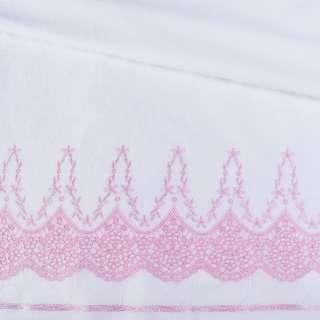 Шитье белое хлопок с вышивкой розовой кайма ш.140 оптом