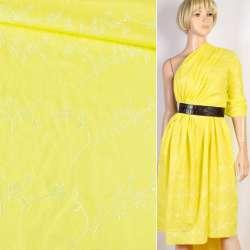 Шитье желтое хлопок с вышивкой цветы ш.136 оптом
