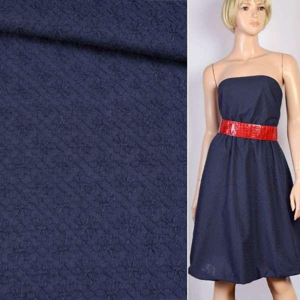Шитье синее хлопок вышивка мелкие ромашки ш.150 оптом