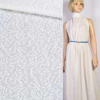 Шитье белое хлопок с вышивкой штрихи узор ш.142 оптом