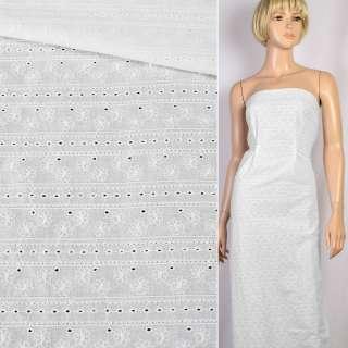 Шитье белое хлопок вышивка полосы цветы ш.138 оптом