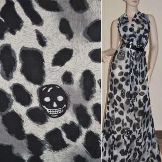 Шифон диллон молочный с черным принт леопард и черепами ш.150 оптом