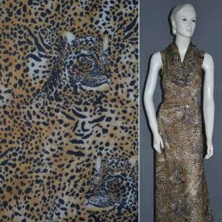 Шифон Діллон коричневий світлий з чорним принтом леопард ш.152 оптом