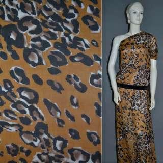 Шифон диллон светло коричневый с молочно черным принтом леопарда и пятнами оптом