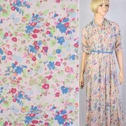 Шифон-диллон розовый в голубые, розовые цветы ш.150 оптом