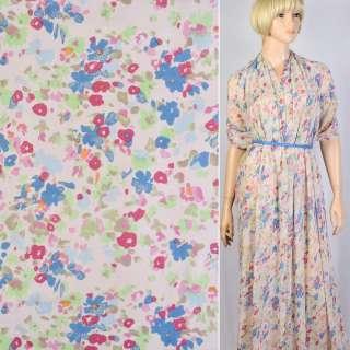 Шифон Діллон рожевий в блакитні, рожеві квіти ш.150 оптом