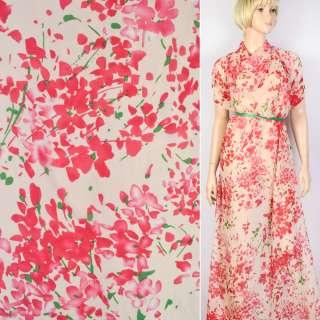 Шифон Діллон молочний в червоні квіти ш.150 оптом