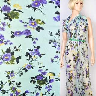 Шифон Діллон блакитний в жовто-фіолетові квіти ш.142 оптом