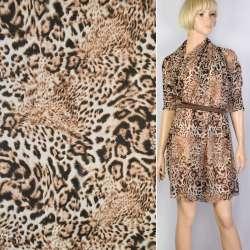 Шифон диллон молочный в черно-бежевые пятна леопард  ш.150 оптом