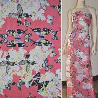 Шифон диллон розовый с цветами и черными бабочками ш.150 оптом