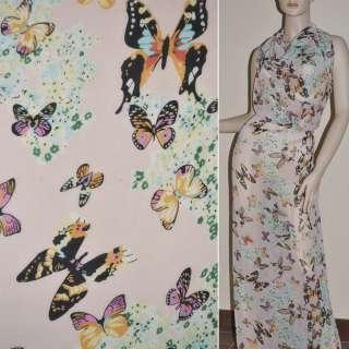 Шифон диллон бл.розовый с цветами и бабочками ш.150 оптом