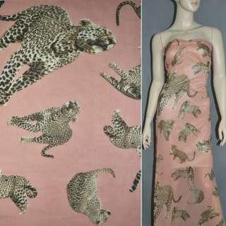 Шифон Діллон кораловий світлий з леопардами ш.150 оптом