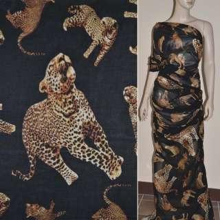 Шифон диллон черный с леопардами ш.150 оптом
