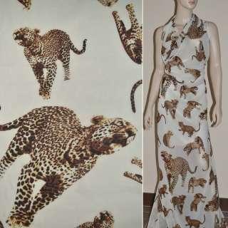 Шифон диллон ванильный с леопардами ш.150 оптом