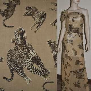 Шифон Діллон бежевий темний з леопардами ш.150 оптом