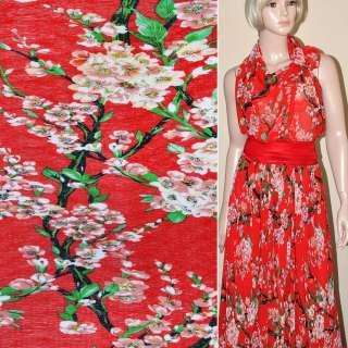 Шифон жатый красный с цветущими веточками ш.147 оптом
